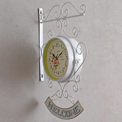 Retro Outdoor Garden Paddington Station Wall Clock Outside Bracket Double Sided