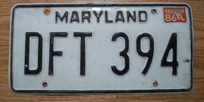 Single Maryland License Plate - 1986 - Dft 394