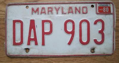 Single Maryland License Plate - 1980 - Dap 903