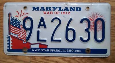 SINGLE MARYLAND LICENSE PLATE - 2010 - 9AL2630 - War of 1812