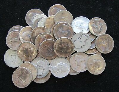(40 Coins) $10 Face Washington 90% Silver Quarter 1 Roll - Mixed Dates; #8236