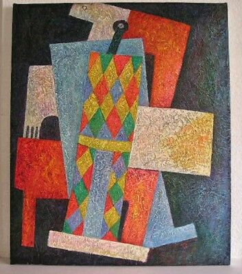 Vintage Modern Abstract Cubist Oil On Canvas Painting