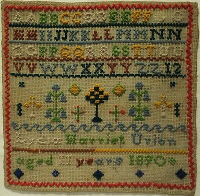 Late 19Th Century Alphabet & Motif Sampler By Lydia Harriet Urion Aged 11 - 1890
