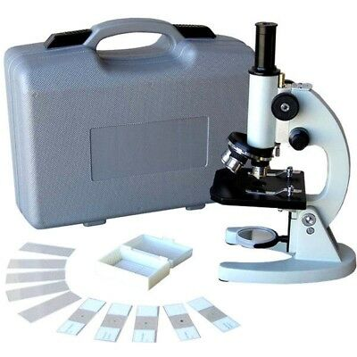 AmScope 40X-640X Metal Body Glass Lens Biology Student Microscope w ABS Case & S
