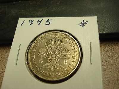 1945 - Great Britain - Silver two shillings - UK coin