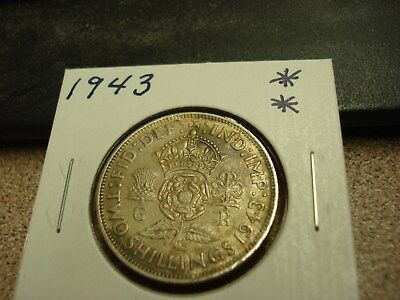 1943 - Great Britain - Silver two shillings - UK coin