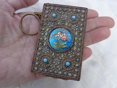 VINTAGE JEWELED PANSY FLORAL ENAMEL FILIGREE DANCE COMPACT w/ FINGER RING