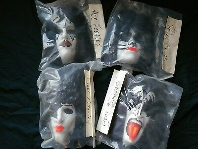 KISS VINTAGE SET OF 4 MASKS 1970's AUTHENTIC SIGNED BY GENE SIMMONS