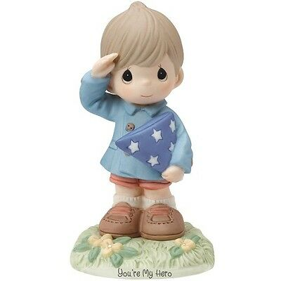 New PRECIOUS MOMENTS Figurine YOU ARE MY HERO Army Military Salute US BOY Statue