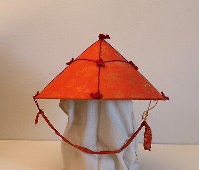 "Vintage 16"" Chinese Bamboo SILK Embroidered Conical Hat Coolie Japanese Asian"