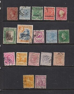 British Colonies,  17 Early Stamps, Used, Cat. $250.00++