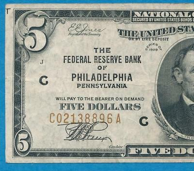 $5.00 1929 Philadelphia  Brown Seal Federal Reserve Bank Note Original Choice Vf