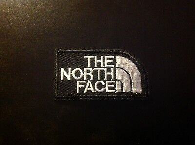 "3"" THE NORTH FACE BLACK/WHITE LOGO Embroidered Iron On/Sew On Patch USA SELLER"