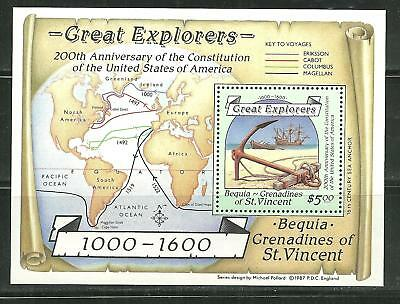 St Vincent Grenadines Bequia 259 Mnh S/s Great Explorers
