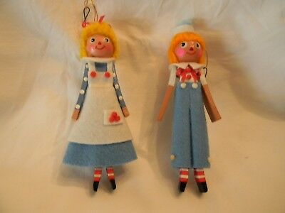 Vintage Raggedy An & Raggedy Andy Christmas Tree Ornaments
