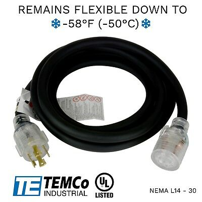TEMCo 10ft Extreme Weather Generator Cord Black NEMA L14-30 125/250V 30A UL