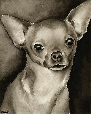 Chihuahua Art Print Sepia Watercolor Painting by Artist DJR