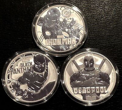 Lot Of 3 2018 Tuvalu 1 Oz Silver Marvel Series(Iron Man/black Panther/deadpoll)