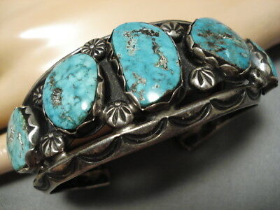Extremely Rare Turquoise Vintage Navajo Henry Yazzie Sterling Silver Bracelet