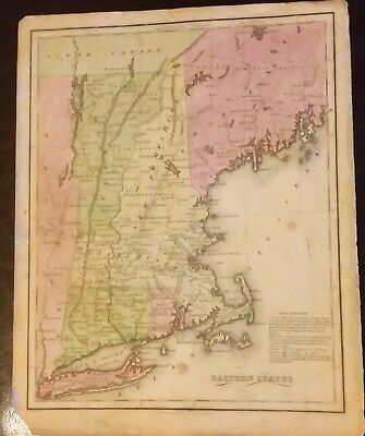 Old Circa 1880s Map EASTERN STATES Eng. J T Hammond 9 1/4 x 12 Inches