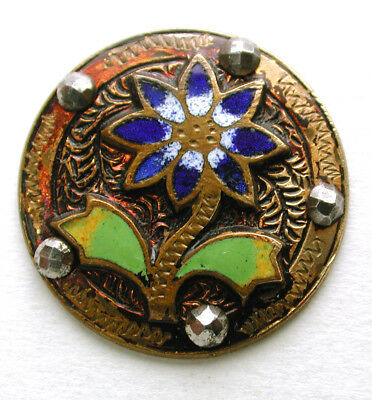"""Antique French Enamel Button Colorful Flower w/ Cut Steel Accents - 15/16"""""""