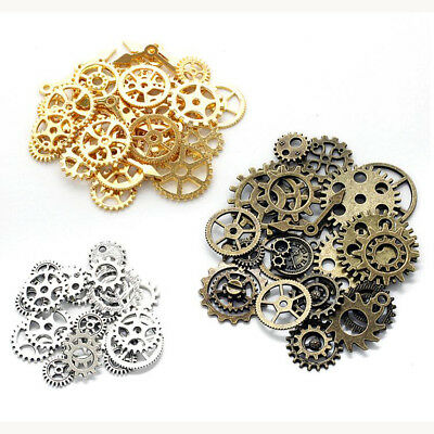 Steampunk Vintage Metal Mixed Gears Cog Wheel Charms Pendant Sets DIY Accessory
