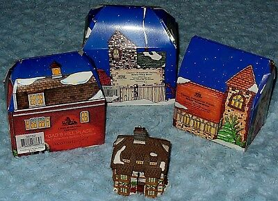 Dept 56 Dickens Village MILL, CHURCH, GAD'S HILL PLACE Christmas Ornaments NIB