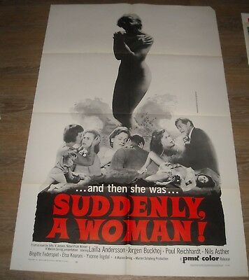 1967 SUDDENLY a WOMAN 1 SHEET MOVIE POSTER LAILA ANDERSSON GGA NILS ASTHER