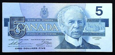 1986 Bank of Canada $5 Five Dollar Bill - Replacement FNX Small F, Above 7.08M