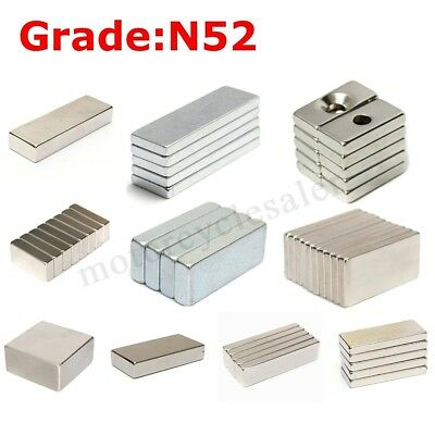 Super N52 Block Magnet Muti-size Strong Square Neodymium Rare Earth Magnets