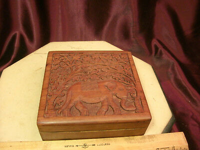 """Wooden Hand Carved Jewelry Bracelet/Earring Box-elephant design-6x6x2""""-India-F/S"""