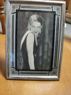 Vintage Art Deco Reverse Painted Photo Frame - Black & Silver - 5 x 7 Inches