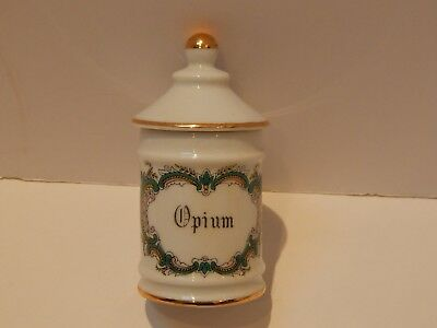 Limoges Paris France OPIUM Apothecary Jar with Lid Pharmacy Antique