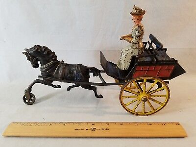"""Best Rare Outstanding 12 1/2"""" Cast Iron Horse Drawn Cart W Woman NO Reserve"""