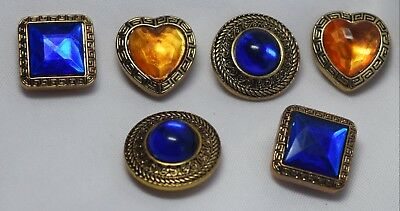 Vintage Lot of 6 Multi Colored Rhinestone Brass Button Covers