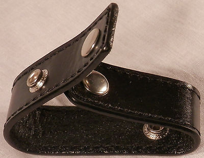 Plain Black Leather Handcuff Strap with Chrome/Silver Snaps