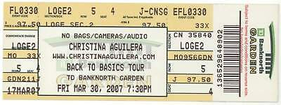 Rare CHRISTINA AGUILERA 3/30/07 Boston MA Banknorth Garden Concert Ticket!