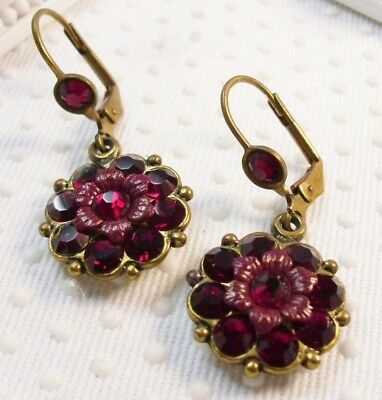 $69 Authentic Michal Negrin Painted Flowers & Red Swarovski elements Earrings