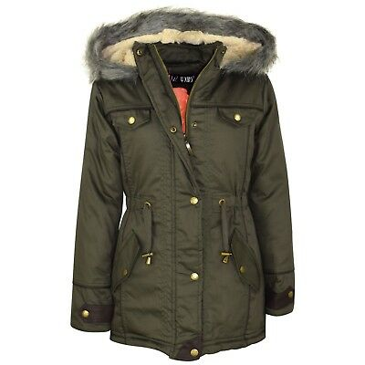 Kids Girls Khaki Hooded Jacket Faux Fur Parka School Jane Jackets Outwear Coat.