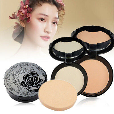 Face Pressed Powder Facial Foundation MakeUp Oil Control Beauty Cosmetic 2019~