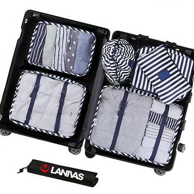 Lanivas 7 Set Packing Cubes for Travel - Luggage Organizers with Blue Striped