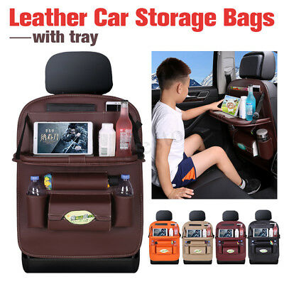 Car Seat Back Kids Leather Organizer Tidy Pocket Storage Bag Travel Holder Table