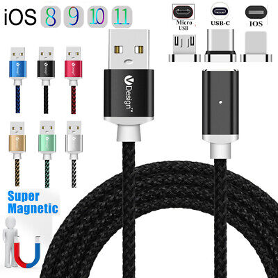 3/6/10FT 3IN1 forte prise magnétique Micro USB IOS Type-C chargeur câble de date