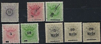 Macau 1884-87 Crowns surcharges accumulation mostly unused