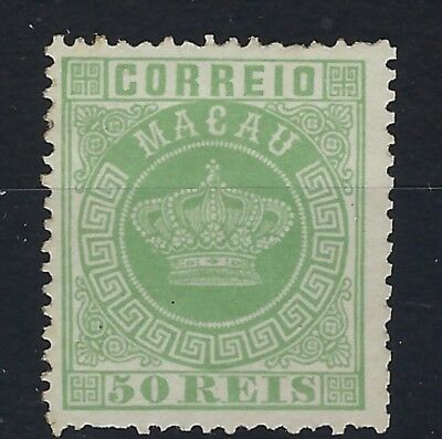 Macau 1884 perf 13.5 Crown 50r green part gum