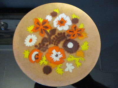 Vintage Enamel on Copper Abstract Modernist Mid Century Modern Floral Plate!