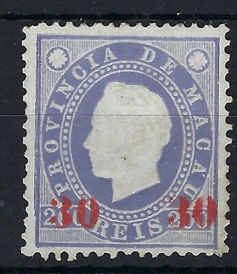 Macau 1892 30 on 200r perf 12.5 unused without gum