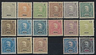 Macau 1898-1900 set excluding 31a unused