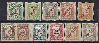 Macau 1911 Republica Postage Due set of 11 unused