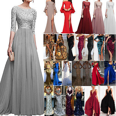 AU Womens Bridesmaid Formal Long Dress Evening Party Cocktail Wedding Prom Gown